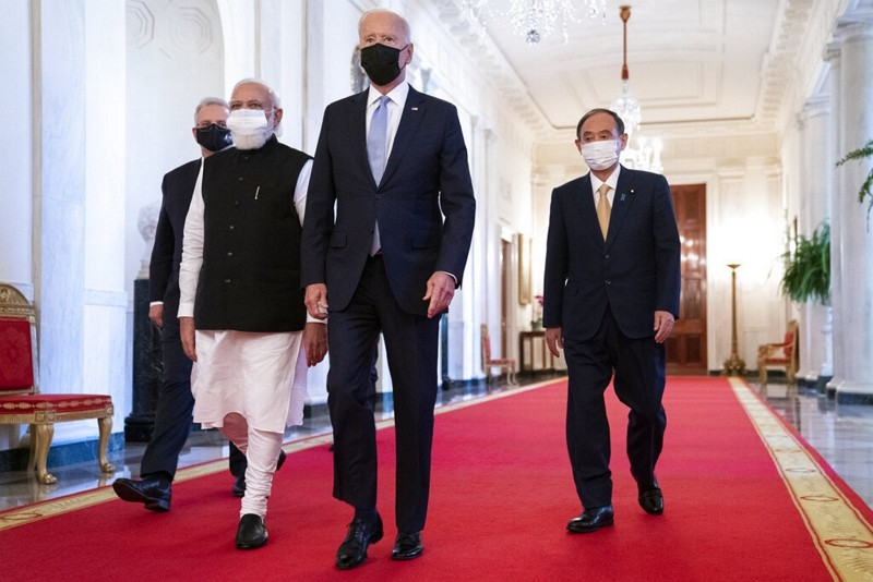 Leaders ofthe Quad countries walk to the East Room of the White House, Sept. 24, 2021.