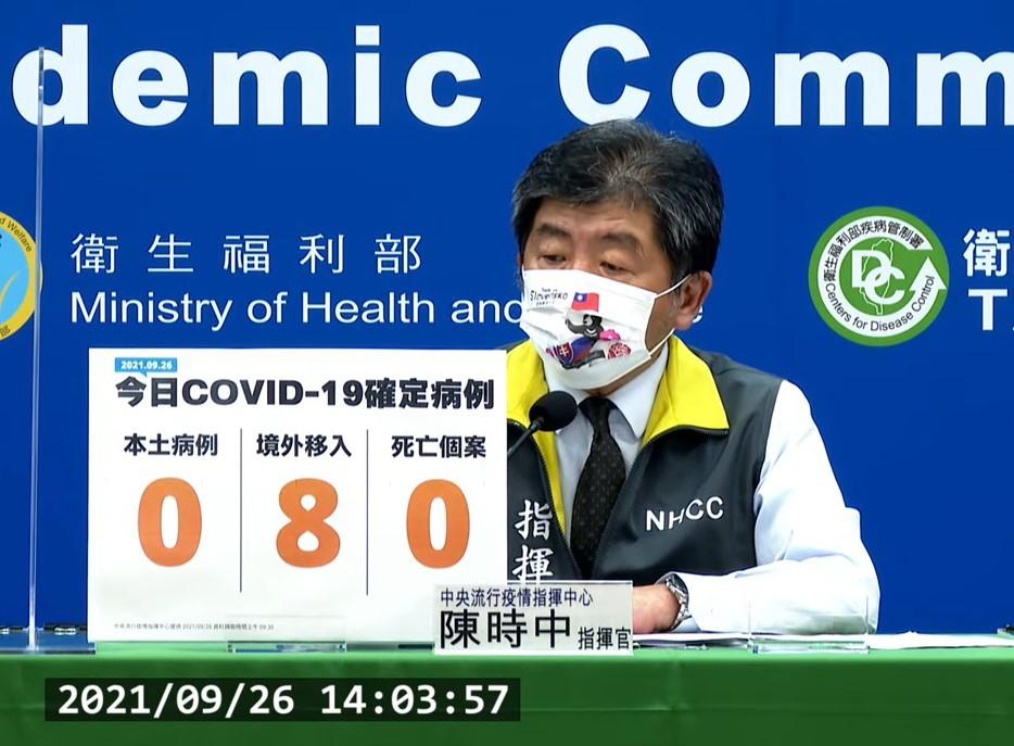 台灣9/26新增8例COVID-19確定病例,均為境外移入;另確診個案中無新增死亡。(截圖自中央流行疫情指揮中心記者會)