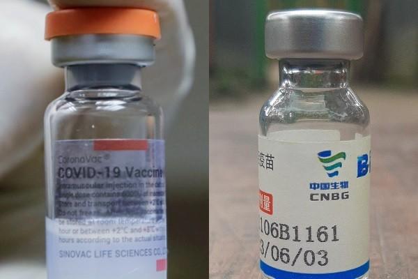 Sinovac vial (left) andSinopharm vial. (Wikimedia Commons, Reuters photos)