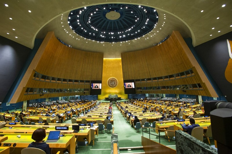 The 76th session of the United Nations General Assembly at U.N. headquarters on Saturday, Sept. 25, 2021.