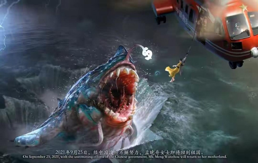 A patriotic graphic depicts ahelplessMeng Wanzhouin need of saving from the jaws of an American shark monster bya Chinese chop...