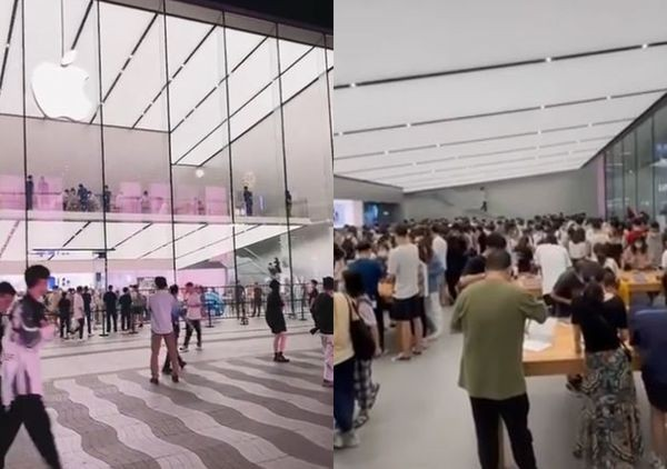 Man pacing outside store (left), crowds inside. (Weibo images)