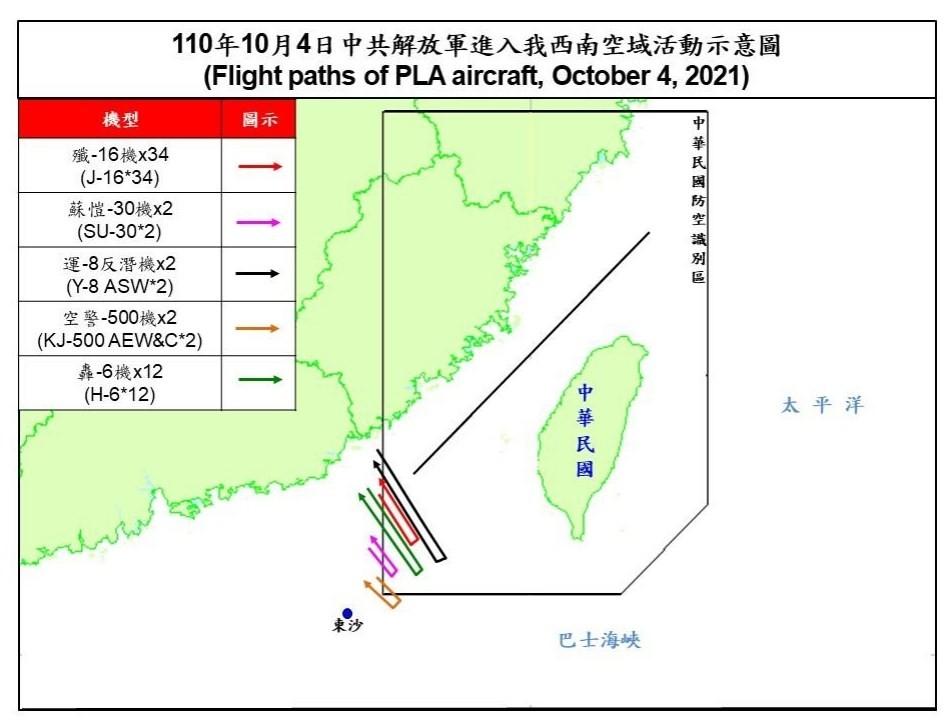 56 Chinese warplanes intrude on Taiwan's ADIZ