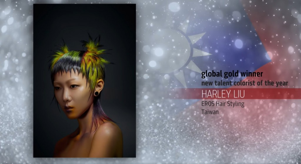 Harley Liu is named GoldwellGlobal Creative Awards New Talent Colorist of the Yeargold winner. (Facebook, Goldwell Taiwan image)