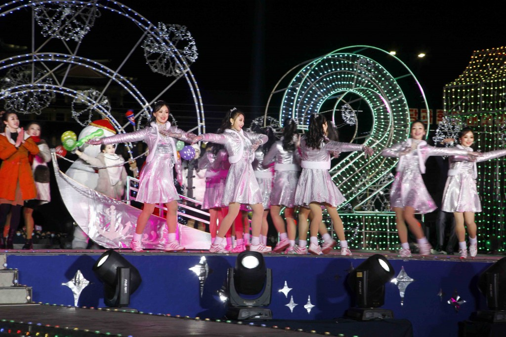 Dancers perform during celebrations to mark the New Year, at Kim Il Sung Square in Pyongyang, North Korea, early Friday, Jan., 1, 2021. (AP Photo/Jon ...