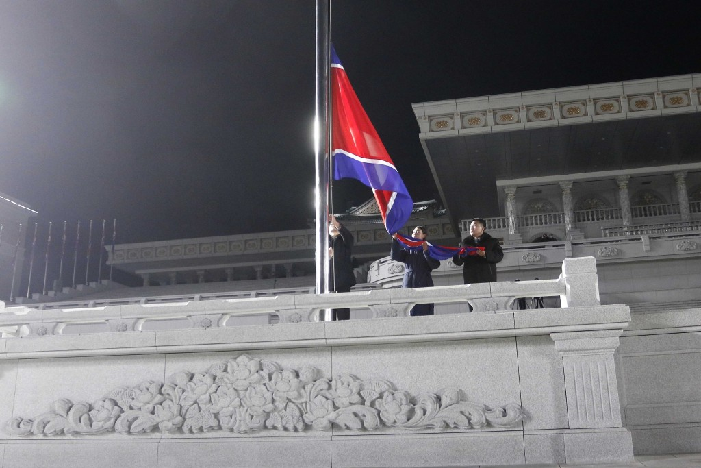 Exemplary workers during the national flag-hoisting ceremony during celebrations for the New Year, at Kim Il Sung Square in Pyongyang, North Korea, ea...