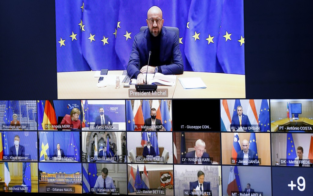 FILE - In this Thursday, Oct. 29, 2020 file photo, European Council President Charles Michel speaks with EU leaders during an EU Summit video conferen...