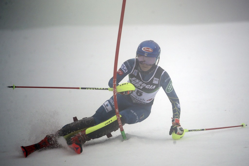 United States' Mikaela Shiffrin speeds down the course during an alpine ski, women's World Cup Slalom, in Zagreb, Croatia, Sunday, Jan. 3, 2021. (AP P...