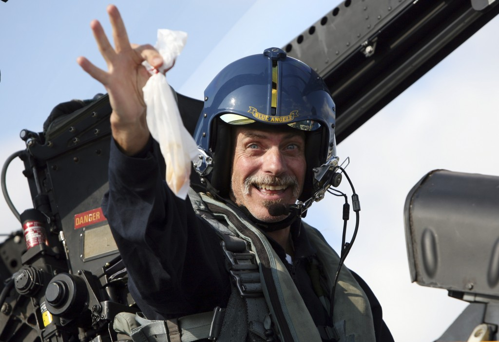 FILE - In this Sept. 3, 2008 file photo, Associated Press writer Glenn Adams is elated after completing a flight on an F/A-18 Hornet at the Brunswick ...