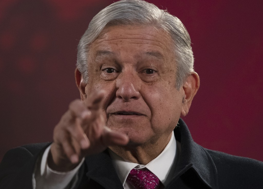 "Mexican President Andres Manuel Lopez Obrador gives his regularly scheduled morning press conference known as ""La Mañanera"" at the National Palace in ..."