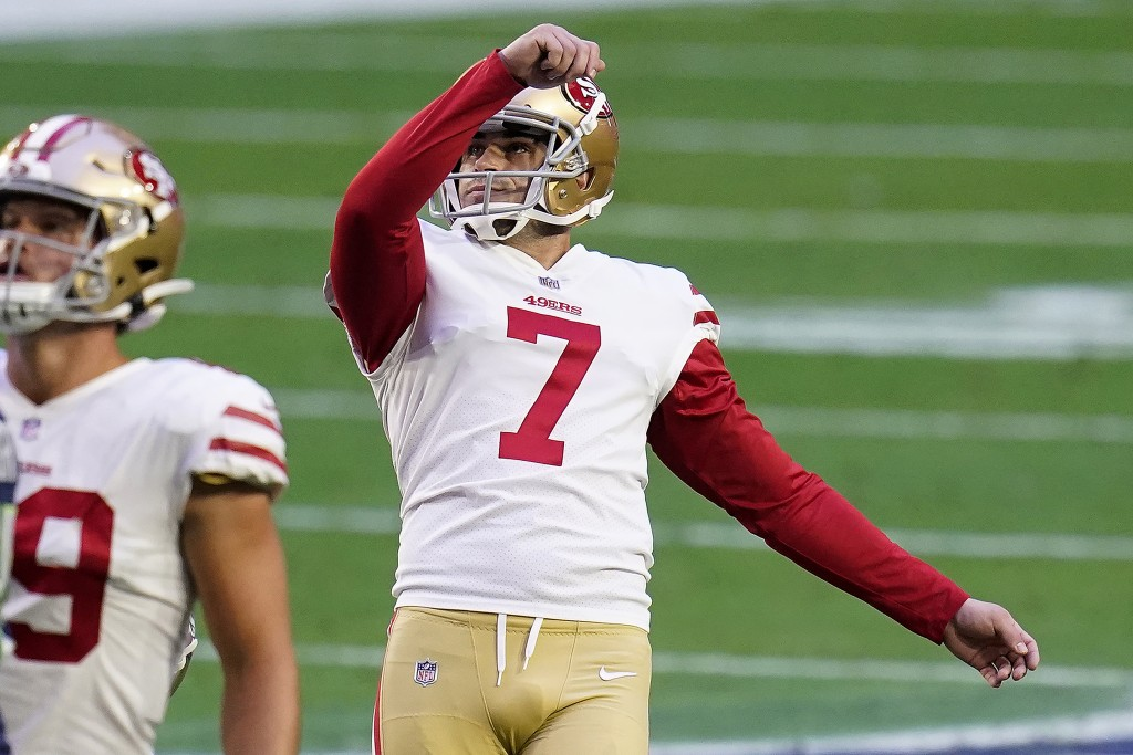 San Francisco 49ers kicker Tristan Vizcaino (7) watches his field goal split the uprights during the first half of an NFL football game against the Se...