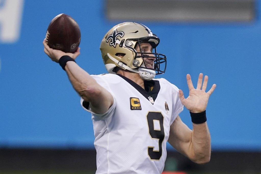 New Orleans Saints quarterback Drew Brees passes against the Carolina Panthers during the first half of an NFL football game Sunday, Jan. 3, 2021, in ...