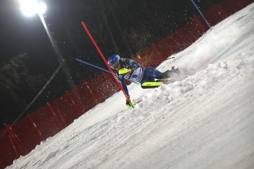 United States' Mikaela Shiffrin speeds down the course of an alpine ski, women's World Cup Slalom, in Zagreb, Croatia, Sunday, Jan. 3, 2021. (AP Photo...