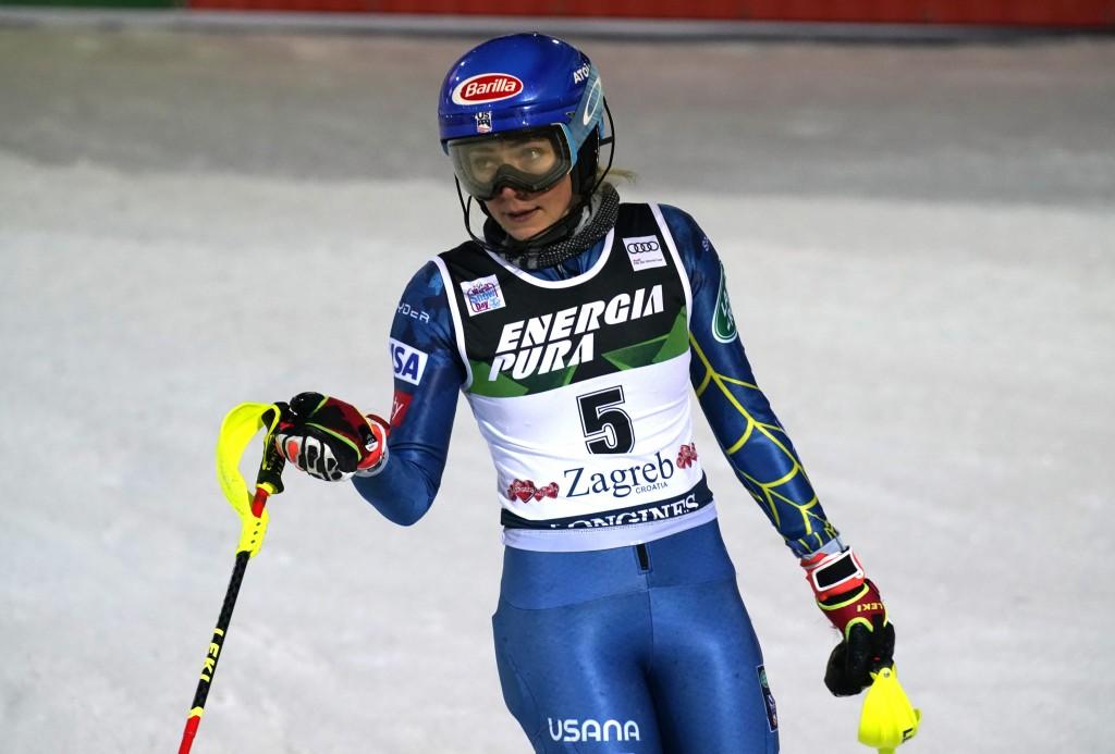 United States' Mikaela Shiffrin arrives at the finish area of an alpine ski, women's World Cup Slalom, in Zagreb, Croatia, Sunday, Jan. 3, 2021. (AP P...
