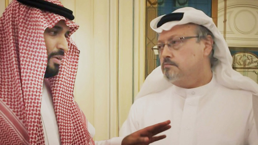 This image released by Briarcliff Entertainment shows Saudi Crown Prince Mohammed bin Salman, left, with journalist Jamal Khashoggi in a scene from th...