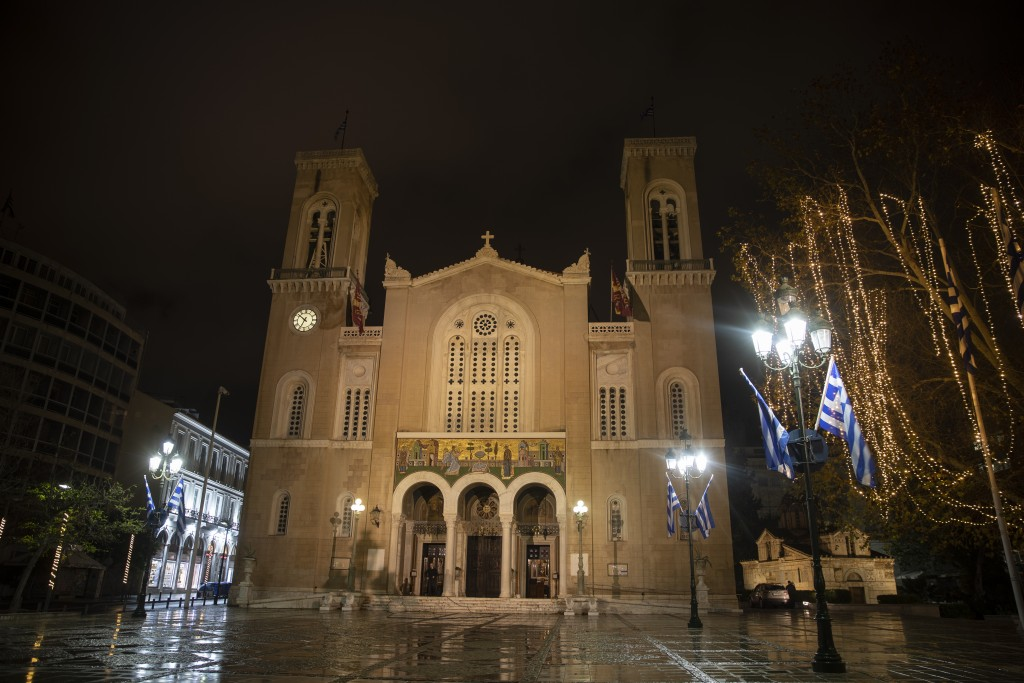 The Athens Orthodox Cathedral, in Athens, on Monday Jan. 4, 2021. Greece's powerful Orthodox Church is rebelling against a government order to briefly...