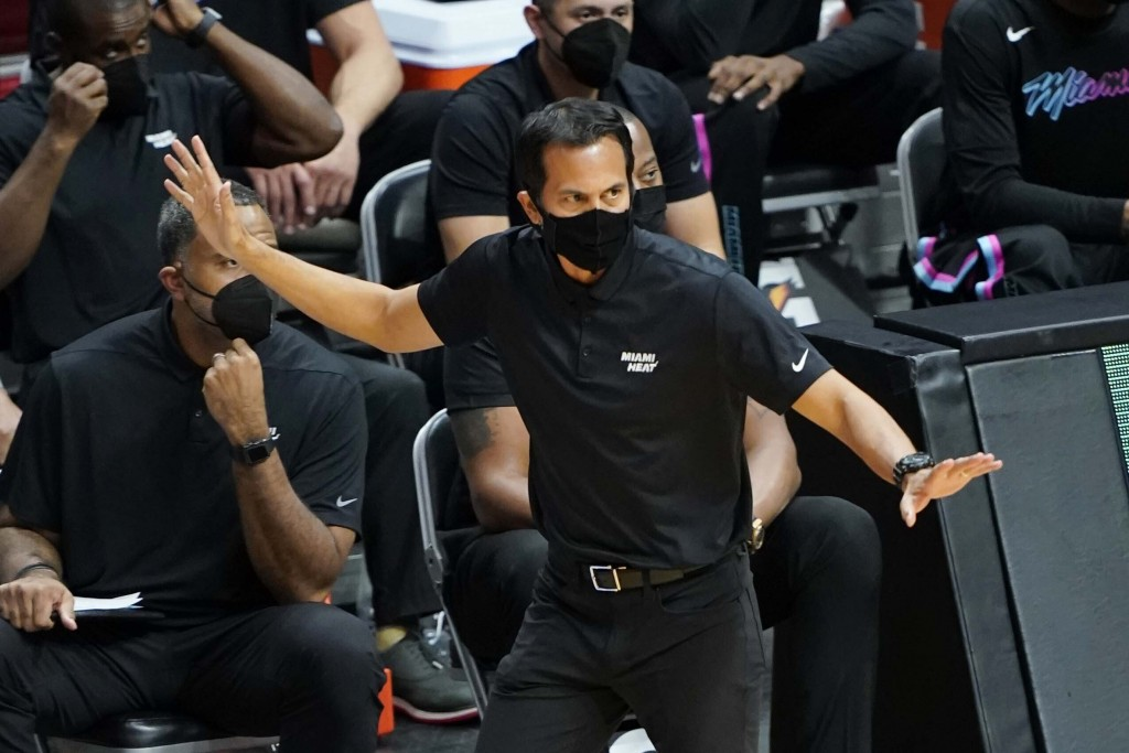 Miami Heat head coach Erik Spoelstra gestures during the first half of an NBA basketball game against the Oklahoma City Thunder, Monday, Jan. 4, 2021,...