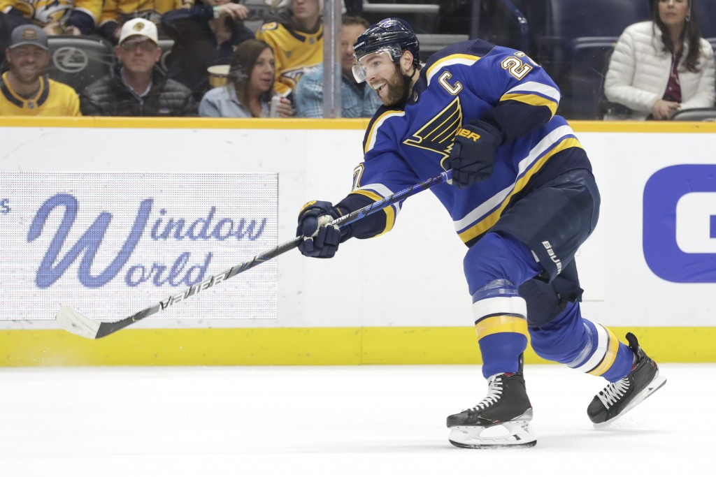 FILE - In this Feb. 16, 2020, file photo, then-St. Louis Blues defenseman Alex Pietrangelo plays against the Nashville Predators in the first period o...