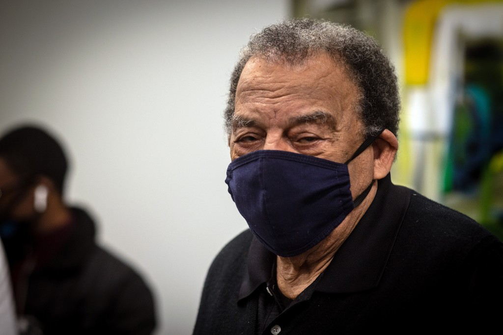 Andrew Young, former U.S. Ambassador to the United Nations watches after he received his COVID-19 vaccination on Tuesday, Jan. 5, 2021, at the Morehou...