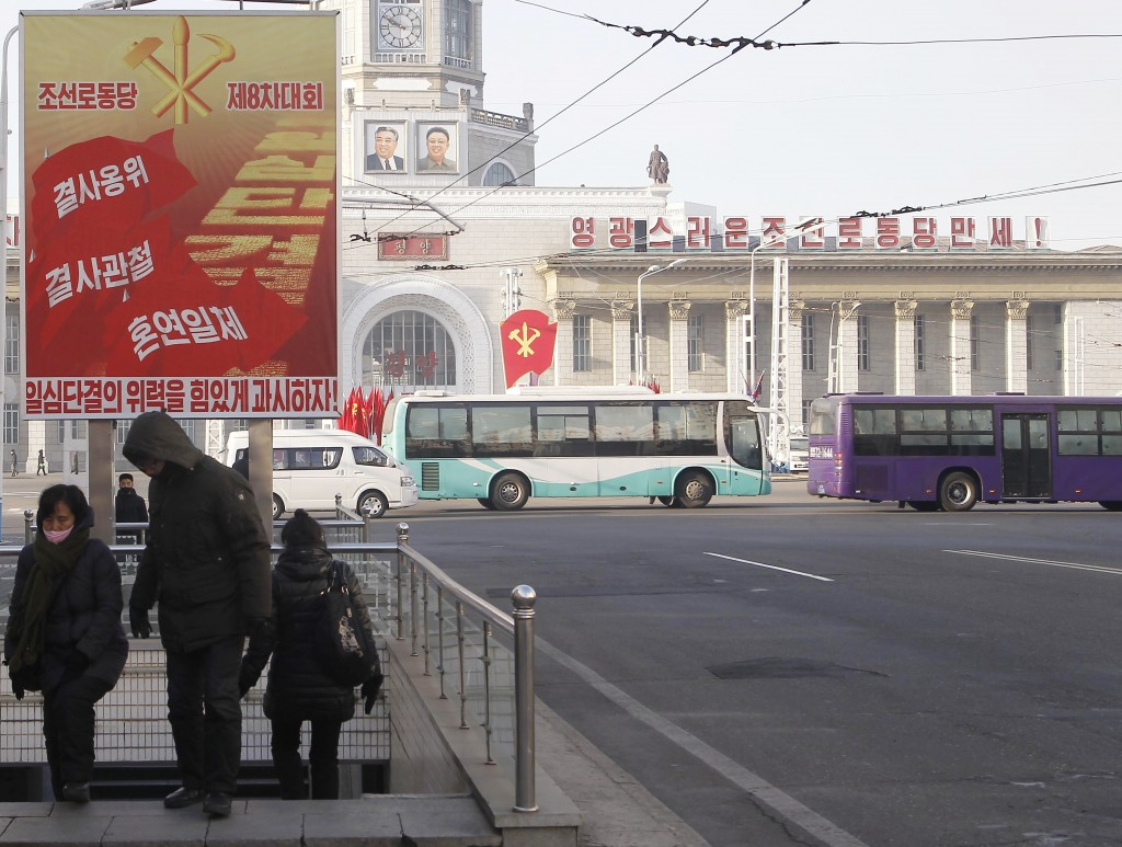 People exit an underpass along a main street of the Central District in Pyongyang, North Korea, on Wednesday, Jan. 6, 2021. The Workers' Party Congres...