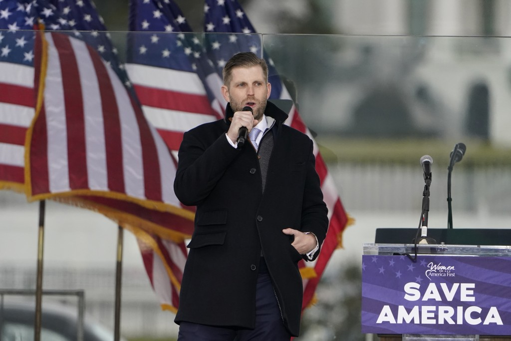 "Eric Trump speaks Wednesday, Jan. 6, 2021, in Washington, at a rally in support of President Donald Trump called the ""Save America Rally."" (AP Photo/J..."
