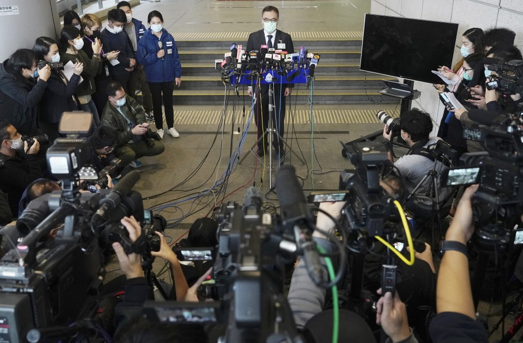 Senior superintendent of National Security Department Li Kwai-wah talks to reporters during a press conference in Hong Kong Wednesday, Jan. 6, 2021. A...