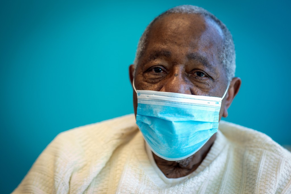 Baseball Hall of Famer Hank Aaron sits for a portrait after receiving his COVID-19 vaccination on Tuesday, Jan. 5, 2021, at the Morehouse School of Me...