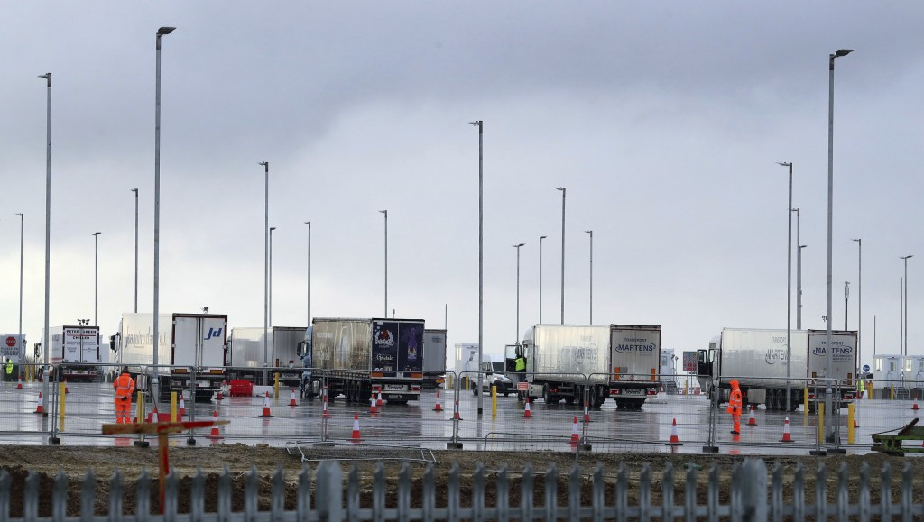 Freight traffic at the new Inland Border Facility at Sevington in Ashford, south east England, Tuesday Jan. 5, 2021, which is being used to test drive...