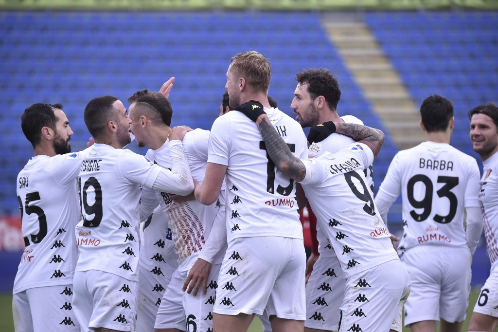Benevento players celebrate after scoring during the Italian Serie A soccer match between Cagliari and Benevento, at the Sardegna Arena stadium in Cag...