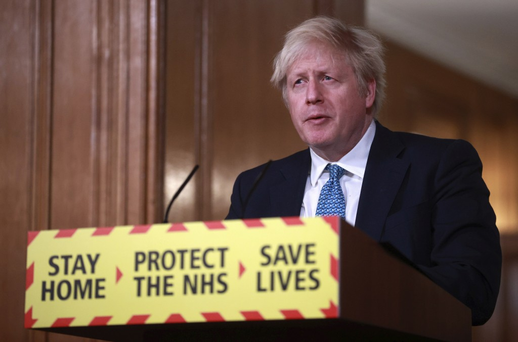 Britain's Prime Minister Boris Johnson speaks during a news conference in response to the ongoing situation with the coronavirus (COVID-19) pandemic, ...