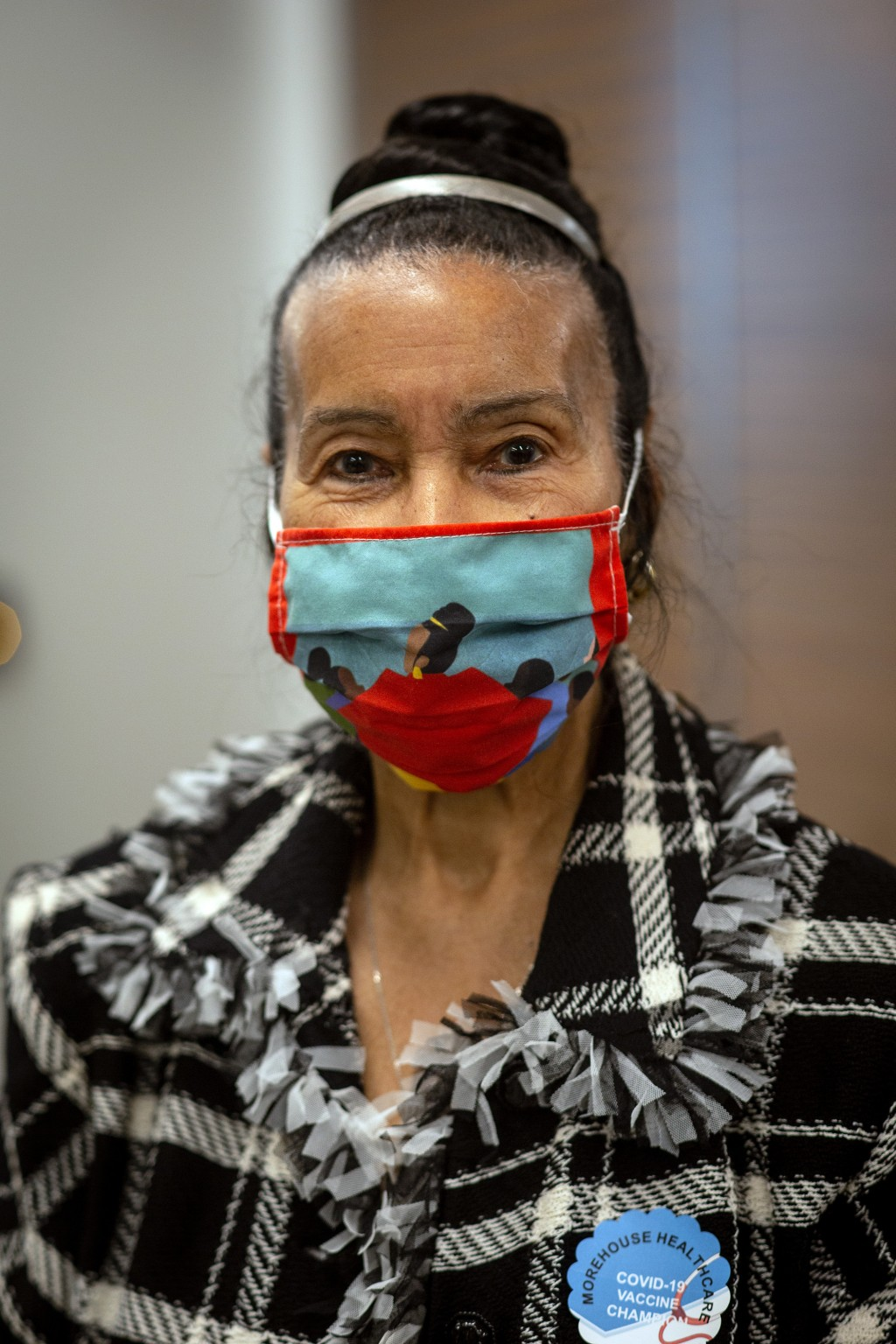 Civil rights leader Xernona Clayton is shown after receiving her COVID-19 vaccination on Tuesday, Jan. 5, 2021, at the Morehouse School of Medicine in...