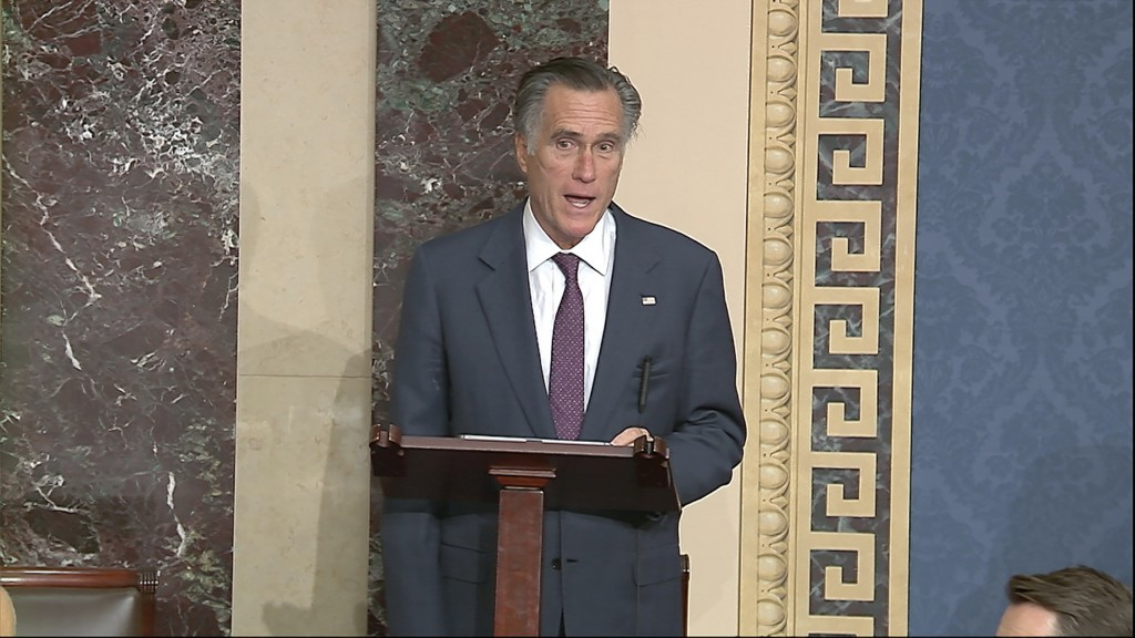 In this image from video, Sen. Mitt Romney, R-Utah, speaks as the Senate reconvenes to debate the objection to confirm the Electoral College Vote from...