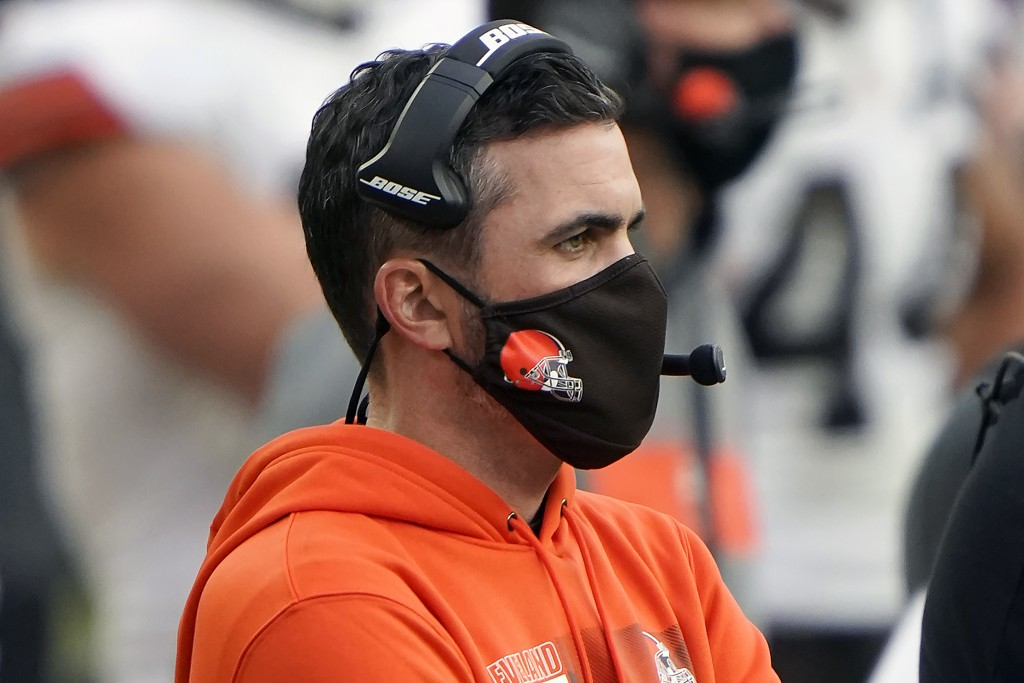 Cleveland Browns head coach Kevin Stefanski looks on from the sidelines during an NFL football game against the Pittsburgh Steelers, Sunday, Oct. 18, ...