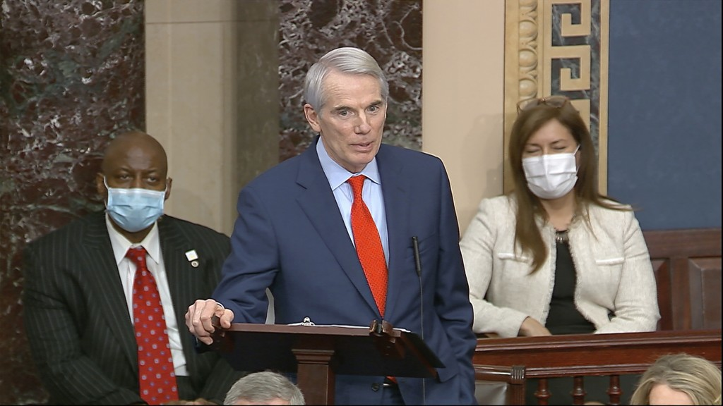 In this image from video, Sen. Rob Portman, R-Ohio, speaks as the Senate reconvenes to debate the objection to confirm the Electoral College Vote from...