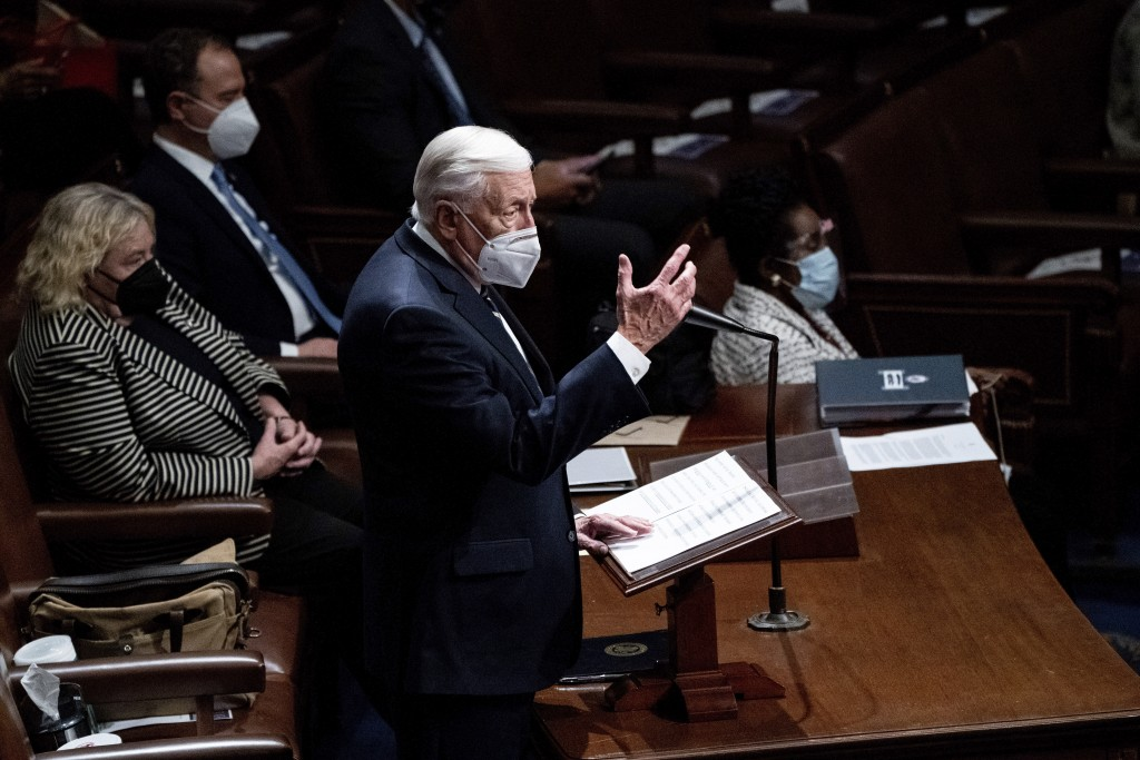 Majority Leader Steny Hoyer, D-Md., speaks in the House Chamber after they reconvened for arguments over the objection of certifying Arizona's Elector...