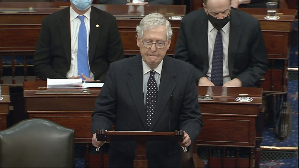 In this image from video, Senate Majority Leader Mitch McConnell of Ky., speaks as the Senate reconvenes after protesters stormed into the U.S. Capito...