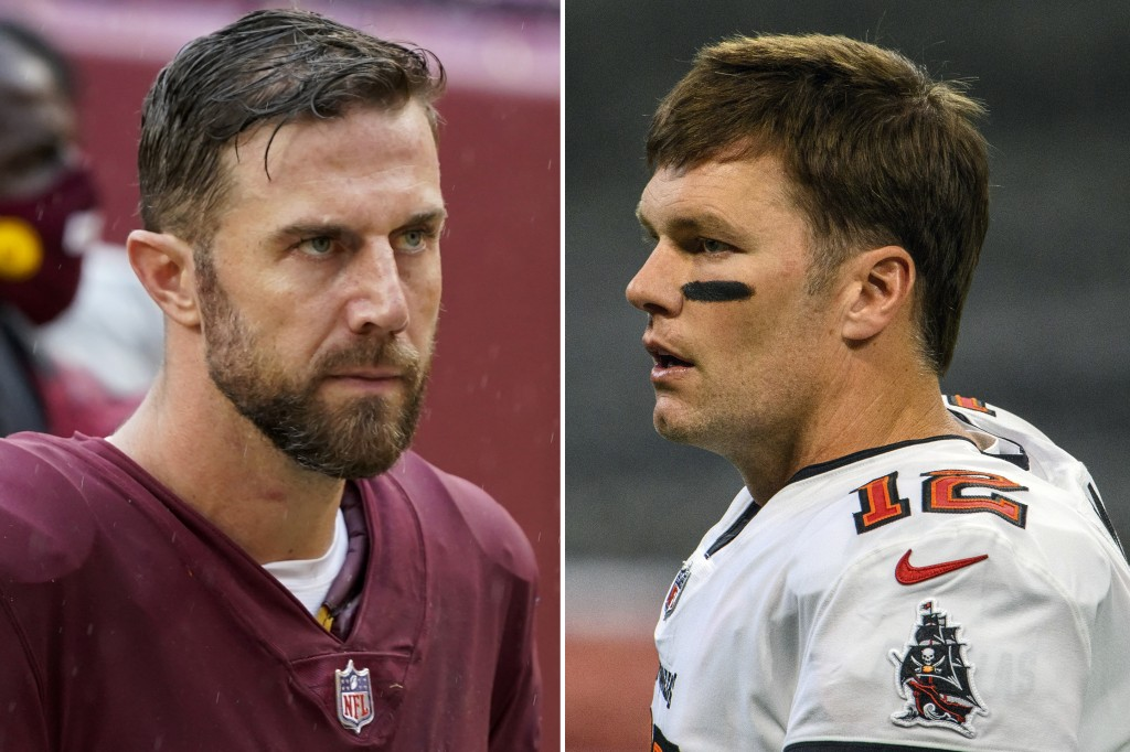 FILE - These are 2020 file photos showing Washington Football quarterback Alex Smith, left, and Tampa Bay  Buccaneers quarterback Tom Brady, right. Wa...