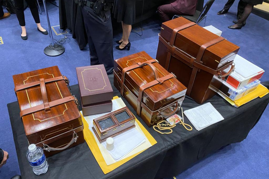 In this photo released by the Office of U.S. Sen. Jeff Merkley, D-Ore, Electoral College ballots sit on a table after they were rescued from the Senat...