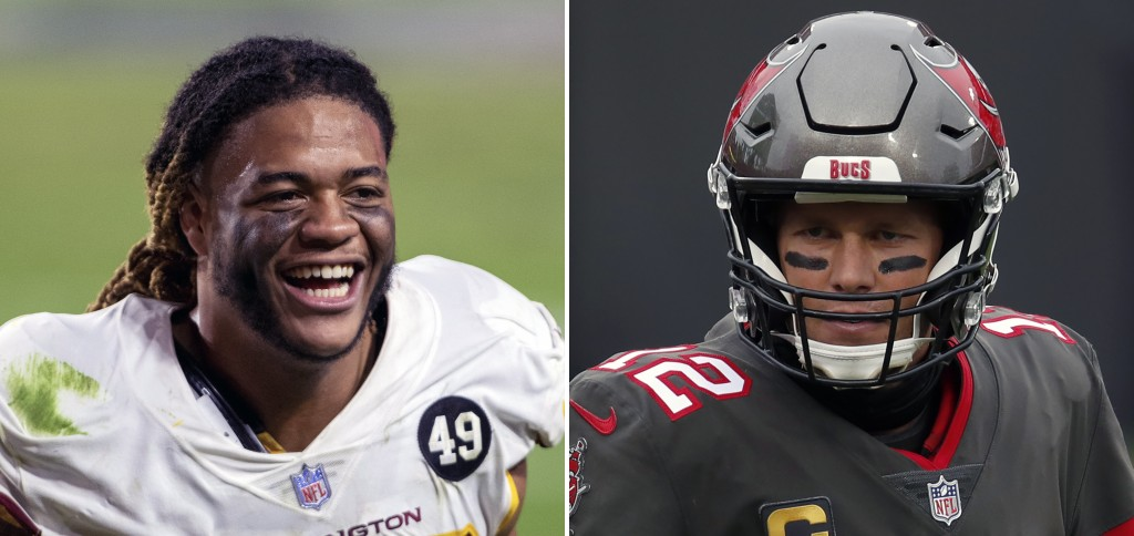 FILE - At left is a 2020 file photo showing Washington Football Team defensive end Chase Young. At right is a 2021 file photo showing Tampa Bay Buccan...