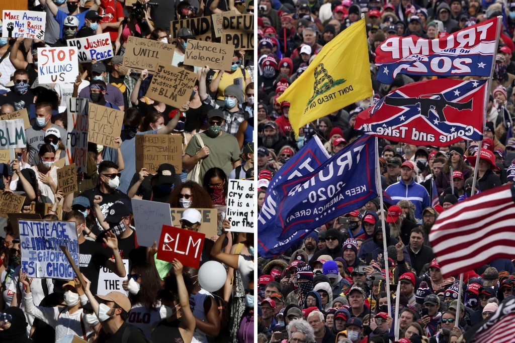 In this combination of photos, on June 7, 2020, protesters participating in a Black Lives Matter rally, left, march to downtown Pittsburgh to protest ...