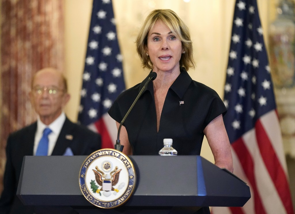 U.S. Ambassador to United Nations Kelly Craft speaks during news conference at U.S. State Department in Washington.