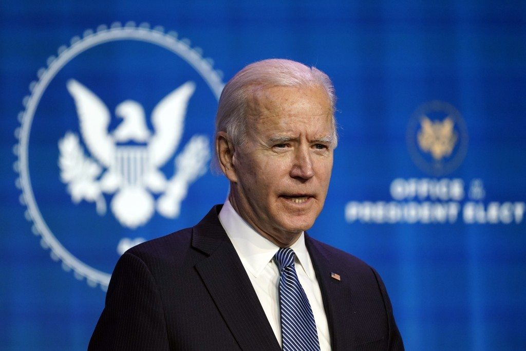 President-elect Joe Biden speaks during an event at The Queen theater in Wilmington, Del., Thursday, Jan. 7, 2021, to announce key nominees for the Ju...