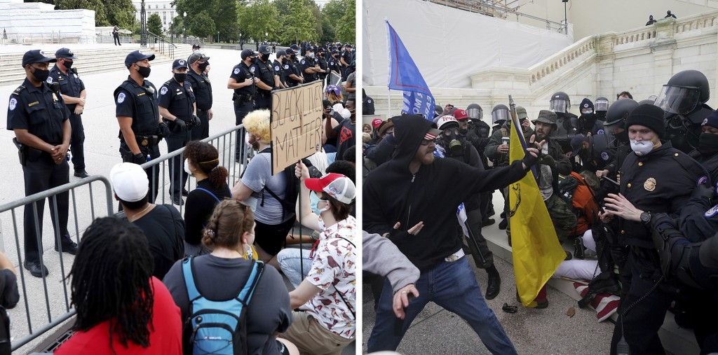 In this combination of photos, on June 3, 2020, demonstrators, left, protest the death of George Floyd at the U.S. Capitol in Washington and Trump sup...
