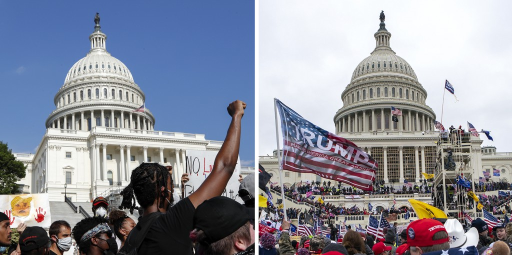 In this combination of photos, demonstrators, left, protest June 4, 2020, in front of the U.S. Capitol in Washington, over the death of George Floyd a...