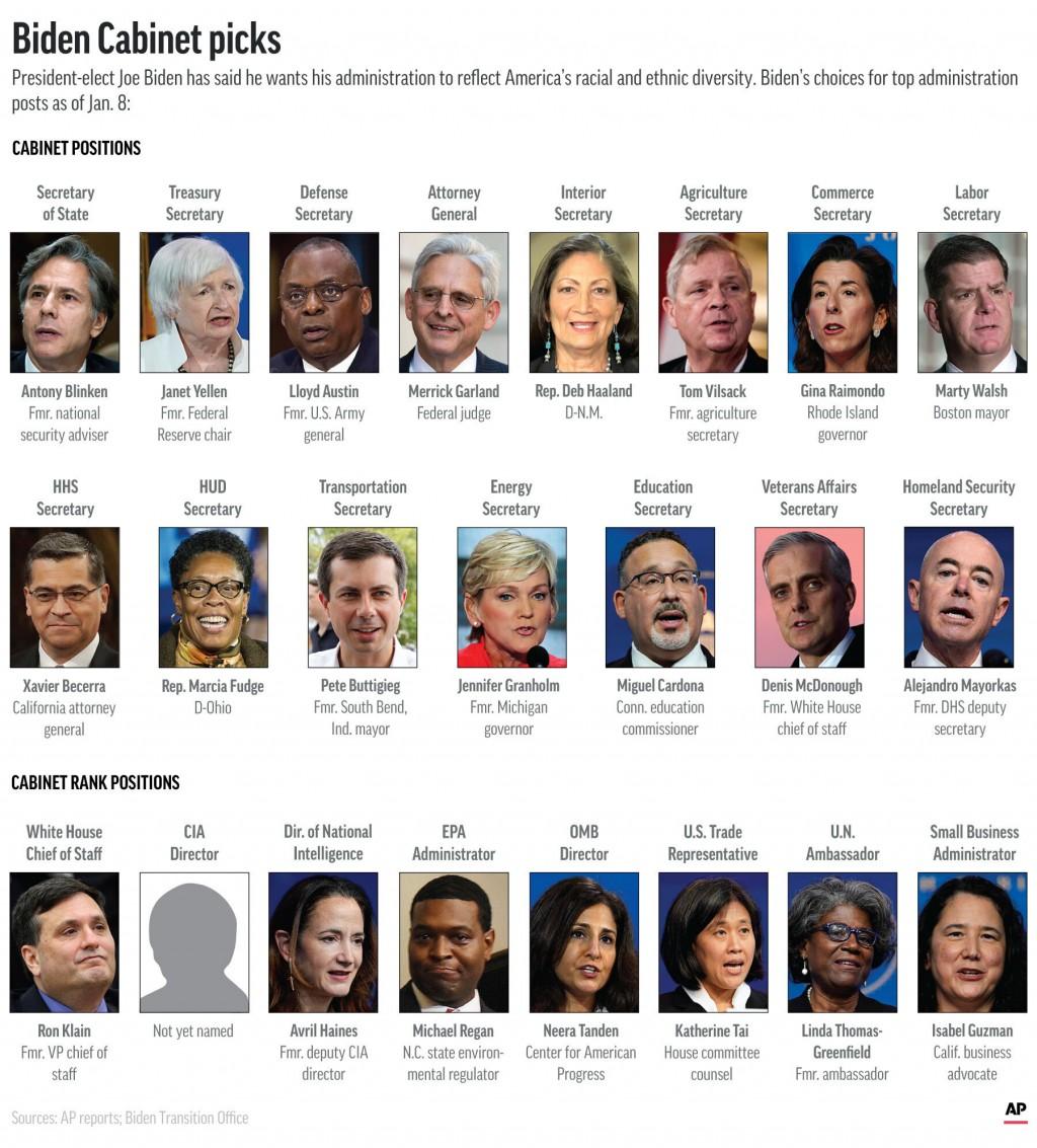 President-elect Joe Biden's Cabinet and Cabinet-level picks. (AP Graphic)