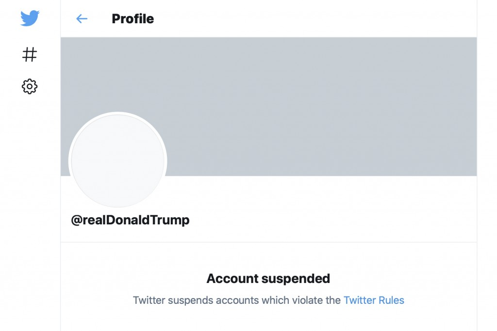 This Friday, Jan. 8, 2021 image shows the suspended Twitter account of President Donald Trump. On Friday, the social media company permanently suspend...