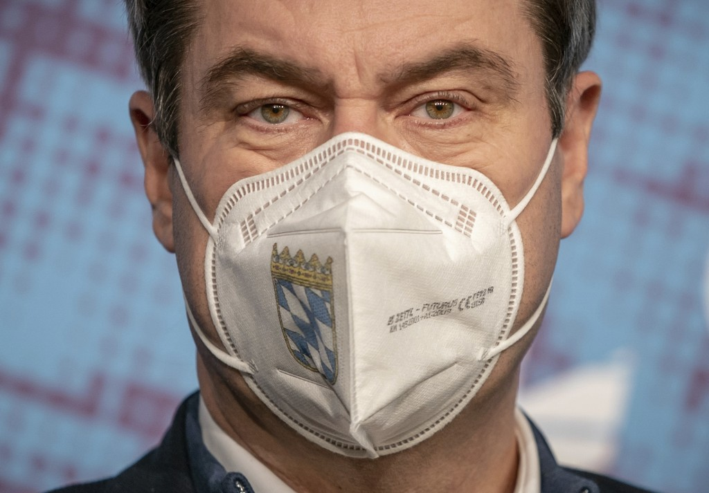 FILE - In this Jan. 6, 2020 file photo, Markus Soeder, Governor of Bavaria and Chairman of the CSU, speaks at the press conference at the beginning of...