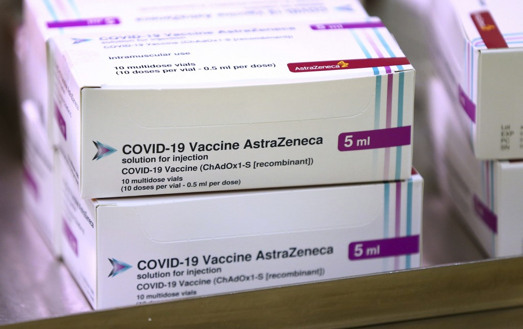 FILE - In this Saturday Jan. 2, 2021 file photo, doses of the COVID-19 vaccine developed by Oxford University and U.K.-based drugmaker AstraZeneca arr...