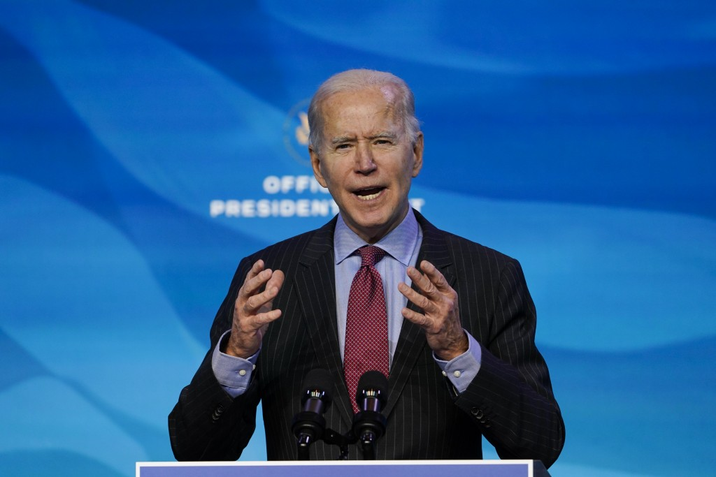 President-elect Joe Biden speaks during an event at The Queen theater in Wilmington, Del., Friday, Jan. 8, 2021, to announce key administration posts....