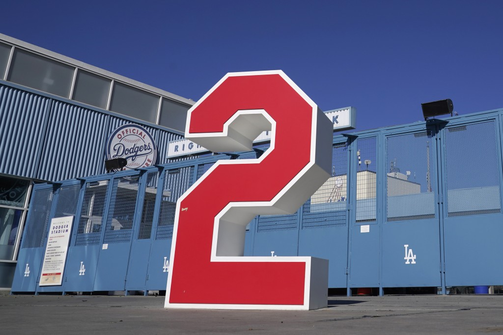 The retired number 2, in honor of former Los Angeles Dodgers manager Tommy Lasorda, is shown at the Retired Numbers Plaza at Dodger Stadium Friday, Ja...